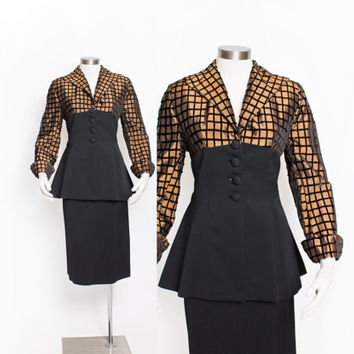 Vintage 1950s LILLI ANN Suit - Black Crepe Copper Velvet Peplum Jacket Set 50s - Small
