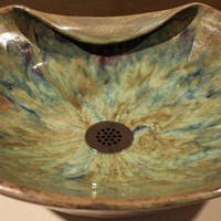 Handthrown Custom Vessel Sink  in green