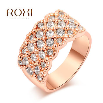 2017 ROXI Engagement Rings White Crystal Paved Promise Rings Rose Gold Bague Acier Inoxydable Pour Femme Love Ring for Women