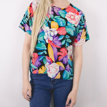 Vintage Tropical Floral Blouse