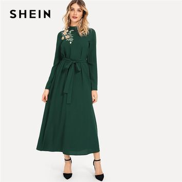 SHEIN Green Elegant Party Flower Embroidered Mock Neck Long Sleeve Belted Natural Waist Maxi Dress Autumn Fashion Women Dresses