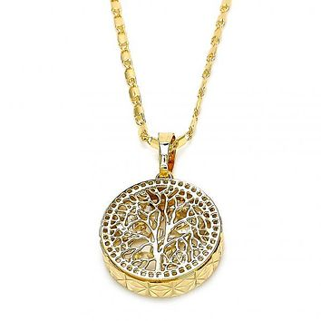 Gold Layered 04.106.0042.20 Fancy Necklace, Tree Design, with White Cubic Zirconia, Diamond Cutting Finish, Golden Tone