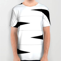 Unisex Deconstructed Zebra Digital Print T-Shirt Abstract T-Shirt Black and White All Over Print T-Shirt Print T-Shirt Pattern Fit Art Deco