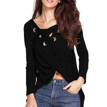 Fine Detailed Lace Up Blouse