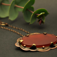 Mixed Metal and Carnelian Necklace from the Rosewater Collection, Copper and Brass Statement Necklace, Oxidized Necklace