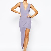 NaaNaa Plunge Neck Sleeveless Pencil Dress With Asymmetric Wrap Skirt at asos.com