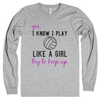 Play Like A Girl-Unisex Heather Grey T-Shirt