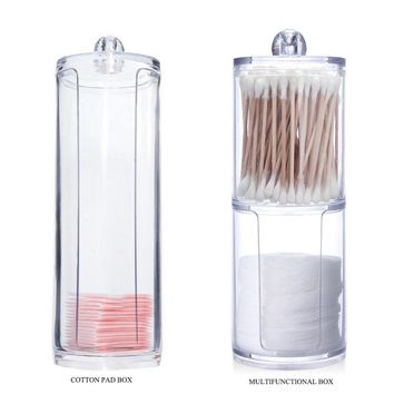 2 Types Acrylic Makeup cotton Pad and Cotton Swab Storage Box Makeup Organizer Cosmetic Holder Tool Accessories Wholesale