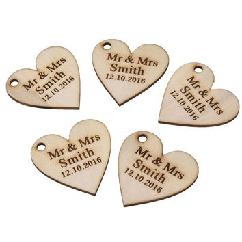 30 Pieces Personalized Engraved Wood Hangs Love Heart