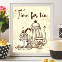 Tea Printable Art Tea Print Time for tea Poster Tea quotes Tea pot Kitchen prints Kitchen decor Tea gift Wall art 8x10 Digital file SALE