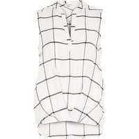 River Island Womens White check V-neck blouse