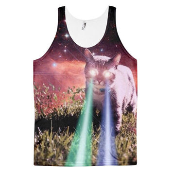 Beam Cat Laser Beams Kittens Cats In Space Funny Animal Lazer Kitten Dye Sublimation All Over Print 3D Full Print Cotton Polyester Unisex Novelty White Red Green & Blue Tank Top