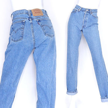 "Size 4 5 Levi's 560 High Waisted Women's Jeans - Vintage 90s Stone Washed Medium Blue Women's Loose Fit Boyfriend Jeans - 27"" Waist"
