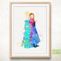 Frozen, Elsa & Anna - Watercolor, Disney Art Print, Nursery Wall decor, Watercolor Print, Disney Princess Poster
