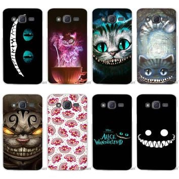 Hot sale Alice in Wonderland Cheshire Cat Clear Case Cover Coque Shell for Samsung Galaxy J1 J2 J3 J5 J7 2016 2017 Emerge