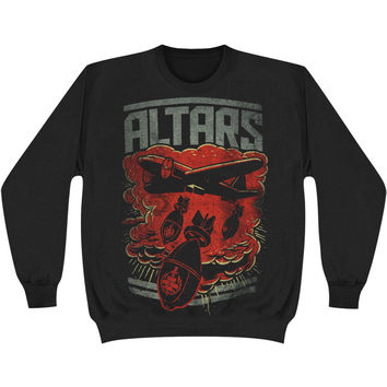 Altars Men's  Bomber Sweatshirt Black Rockabilia
