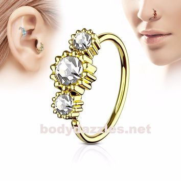 Clear Round Clear CZ Set Gold IP Plated 316L Surgical Steel Hoop Ring for Nose & Ear Cartilage 20ga