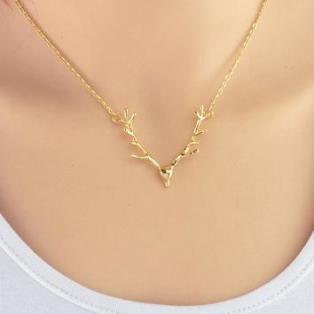 $6.99 Fashion Elk Deer Antlers Pendant Necklace  FREE SHIPPING!!!!