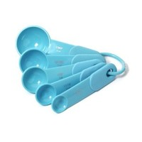 KitchenAid Classic Set of 5 Plastic Measuring Spoons, Turquoise