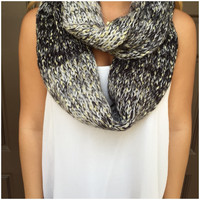 Black & Gold Knit Infinity Scarf - Black & Gold Knit Infinity Scarf