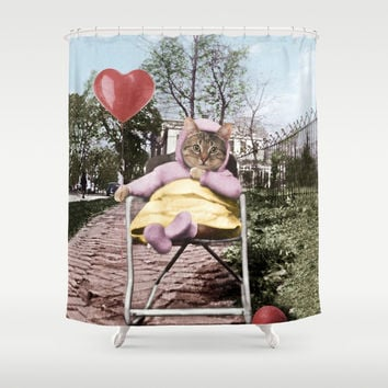 Pretty little Kitty with a heart balloon Shower Curtain by Peter Gross