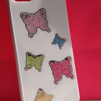 Luxury Elegant Bling Butterflies Crystal Beads White Hard Case Cover for Apple iPhone 5 5S