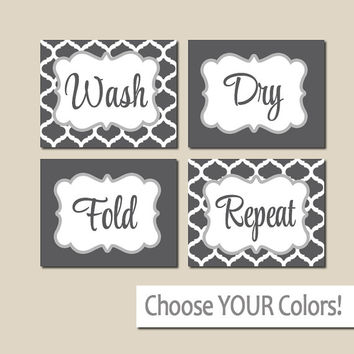 LAUNDRY Wall Art, CANVAS or Prints Charcoal Gray, Wash Dry Fold Repeat, Laundry Room RULES, Choose Colors, Set of 4 Quatrefoil Home Decor