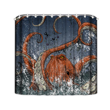 Orange Octopus Shower Curtain - Octopus Tentacle Shower Curtain - Octopus Bathroom Shower Curtain - Kraken Tentacles Shower Curtain