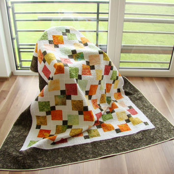 Homemade Twin Quilt. Modern Double Quilt. Batik Quilt. Orange, yellow, green, pink colors. Ready to ship.