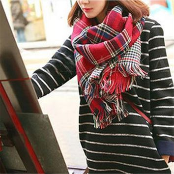 2016 Tartan Scarf Women Plaid Scarf Fashion Faux Cashmere Wool Winter Long Warm Scarves Shawl Poncho