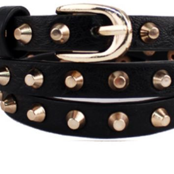 Trendy Skinny Black Belt with Gold Studs (Plus)