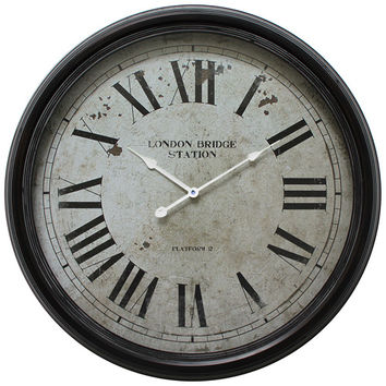 Yosemite Home Decor CLKA9B363ND Black 25-Inch Wall Clock with Distressed Iron Frame (Clearance Priced)