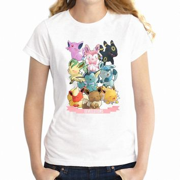 Women's T Shirt  Evolution Pikachu Squirtle Charizard Watercolor Artsy Girl's TeeKawaii Pokemon go  AT_89_9