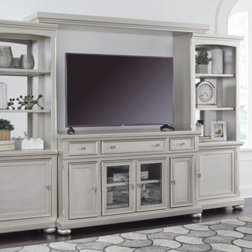 Ashley Furniture W650-31-33-34-35 4 pc Coralayne silver finish wood tv rustic style entertainment center