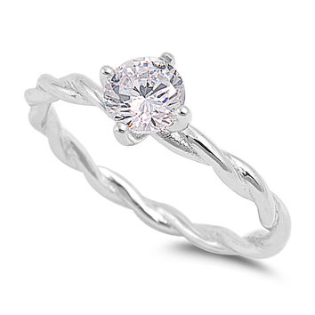 Sterling Silver CZ Simulated Diamond Twisted Knot Solitaire Ring 6MM