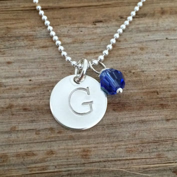 Sterling Silver Personalized Initial Charm Necklace with Swarovski Birthstone Crystal, Custom Engraved Letter, Monogram Identity Tag, Gift