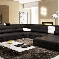 Divani Casa Polaris Contemporary Black Bonded Leather Sectional Sofa