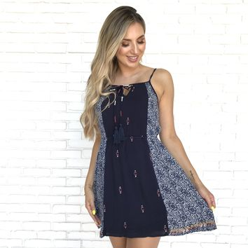 No Longer Divided Navy Print Dress