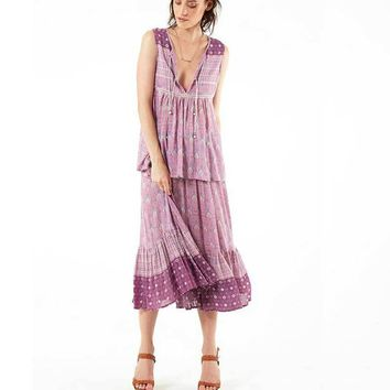 Boho Inspired Maxi Skirt/Blouse (Purple)
