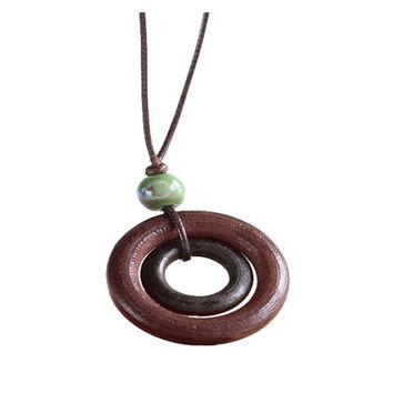 Creative Simple Handmade Wooden Round Pendant Necklace