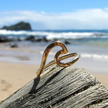 Gold Wave Ring, Hawaii Beach Jewelry, Surfer Girl, Girls Gift Idea, Hammered, Handmade Maui, Summer Fashion, Mermaid Accessory, Ocean Lover