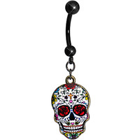 Faith Like a Blooming Rose Sugar Skull Dangle Belly Ring | Body Candy Body Jewelry