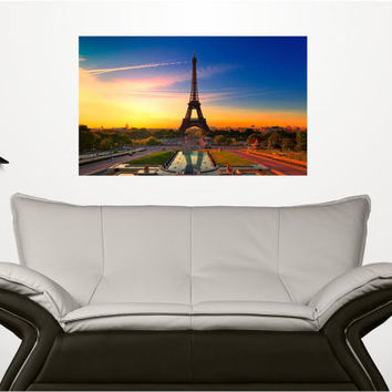 Mini-Mural Eiffel Tower Paris France at Dawn Wall Graphic Sunrise European Summer Decor Sticker Decal Home Living Room Man Cave Office Art