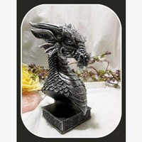 Meditating Silver Dragon Head Statue