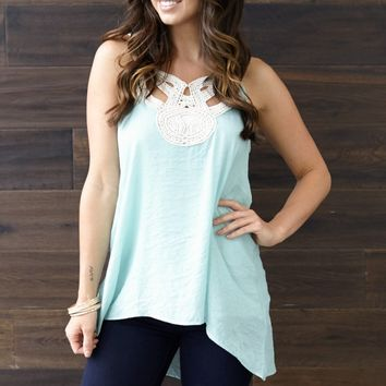 Mint Green Cutout Crochet Neck Linen Tank Top