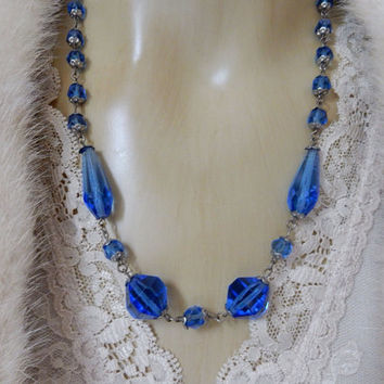 Amazing Art Deco Cobalt Blue Crystal Necklace Earrings and Bracelet Czech Glass Jewelry Set