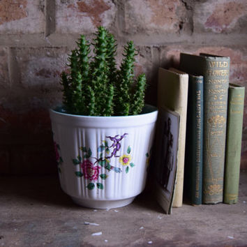 vintage plant pot • vintage Old Foley planter • vintage white planter • vintage chinese rose plant pot • vintage flower planter