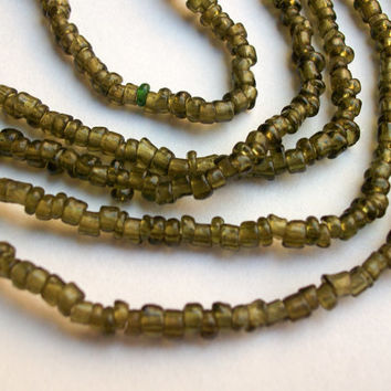 Olive matte Murano glass beads from Venice, Italy