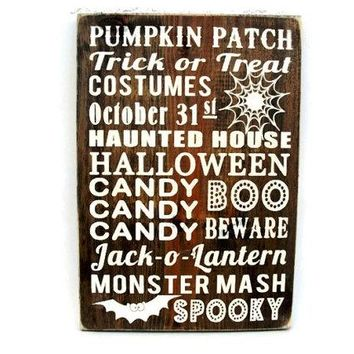 Halloween Sign Rustic Wood Wall Decor Subway Art (#1199)