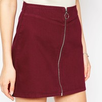 ASOS PETITE Denim Aline Skirt With Zip Front In Oxblood
